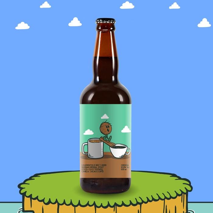 Cerveja 5 Elementos e Bro's Beer Coconut Cinnamon Coffee Chocolate Stout, 500ml